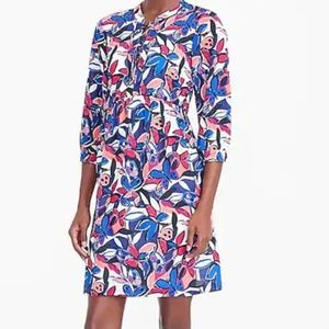 J.Crew XS Blue Pink Lace Up Butterfly Print Dress